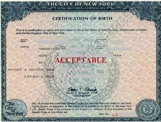 NYC birth certificate short form acceptable for Apostille authentication