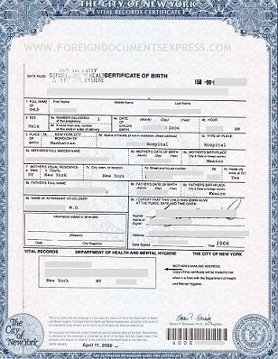 Apostille for Birth Certificate in New York