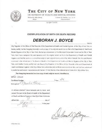 exemplification letter for Birth or Death Certificate for New York Apostille