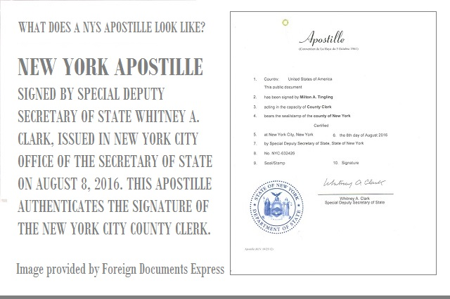 This is a sample New York apostille issued by the Office of the Secretary of State