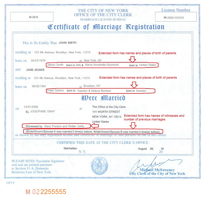 new york city marriage certificate extended form front