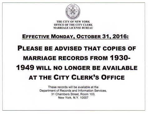 notice marriage bureau