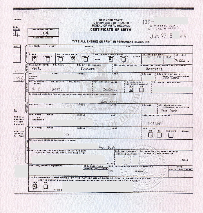 birth certificate new york state 2017 front