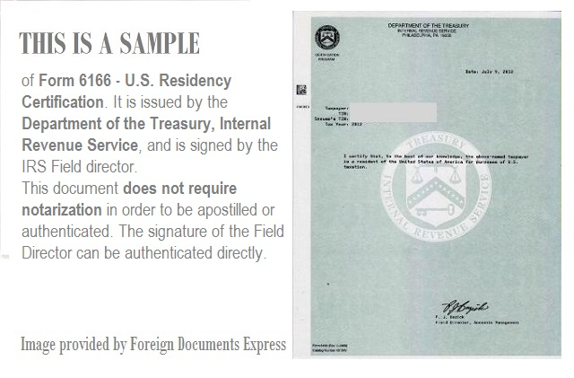 form 6166 us residency certification